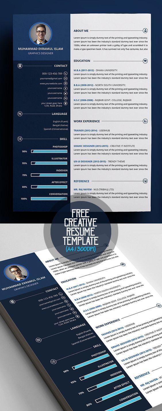 Free Creative Resume / CV Template Cv tasarım, Özgeçmiş