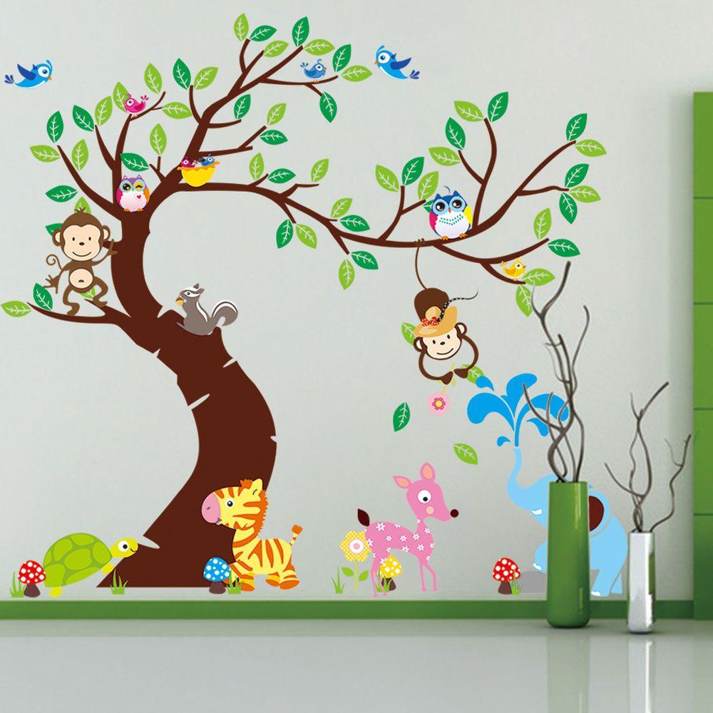 Wandtattoo Wald Sticker Lustige Tiere Baum Wandbild Affe Groß ...