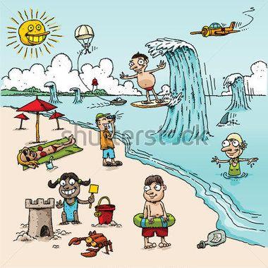 A Vector Cartoon Beach Scene With People In Different Activities Beach Cartoon Cartoon People Beach Scenes