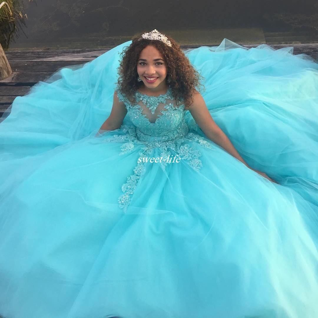 Cheap Custom Made Mint Green Ball Gown Girls Quinceanera Dresses ...