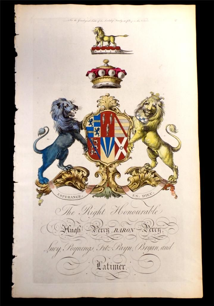 Coat of arms of Lieutenant-General Hugh Percy (1742-1817), 3rd Baron Percy (GB 1722), later 2nd Duke of Northumberland (GB 1766), Joseph Edmondson's Baronagium Genealogium, London, 1764-1784.
