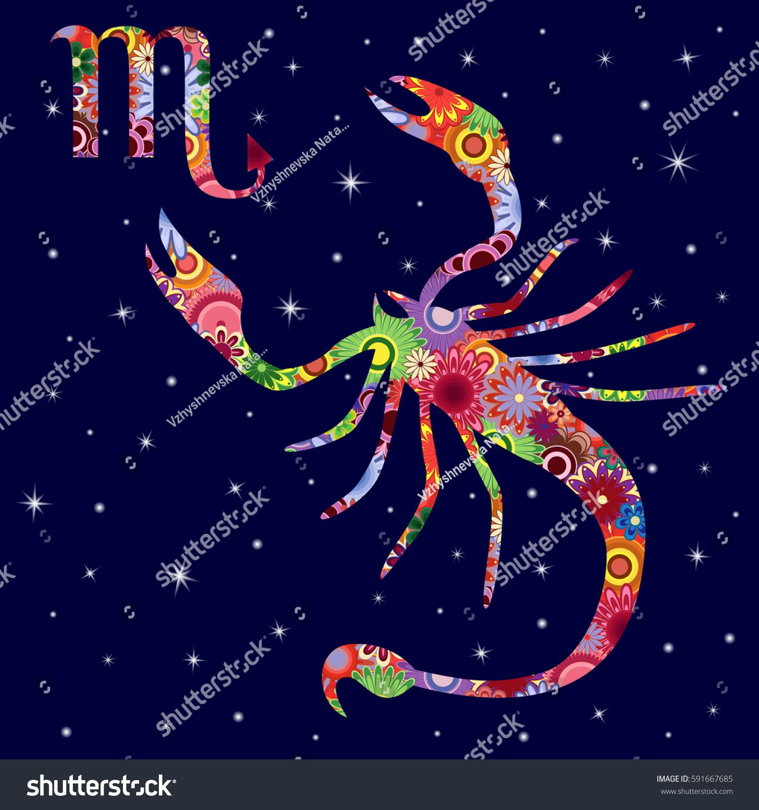 Zodiac sign Scorpio with colorful flowers fill on a