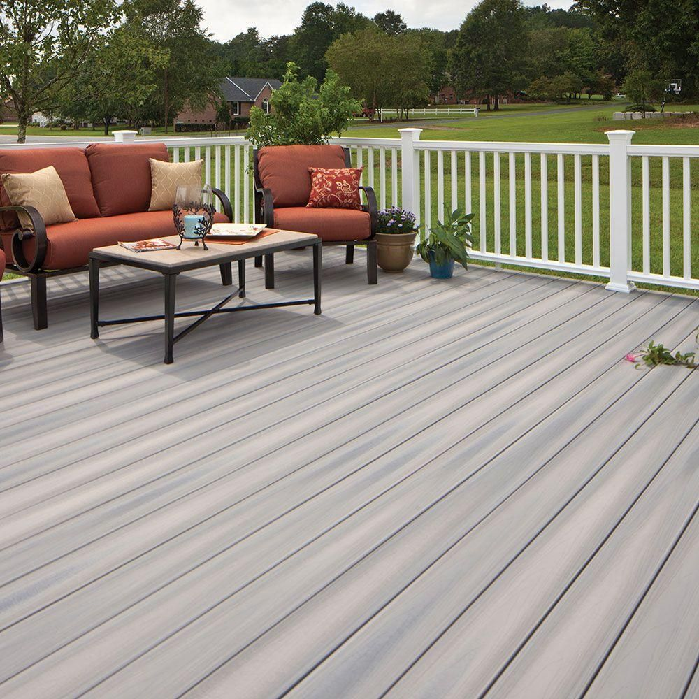 Home Depot Cedar Deck Boards Fiberon Armorguard 15 16 In X 5 1 4 In X 20 Ft Seaside Gray