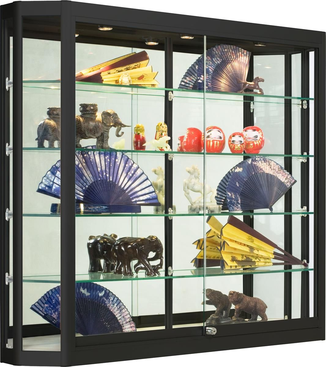 4x3 Wall Mounted Display Case W Angled Front Sliding Doors Locking Black Wall Mounted Display Case Glass Display Case Glass Cabinets Display