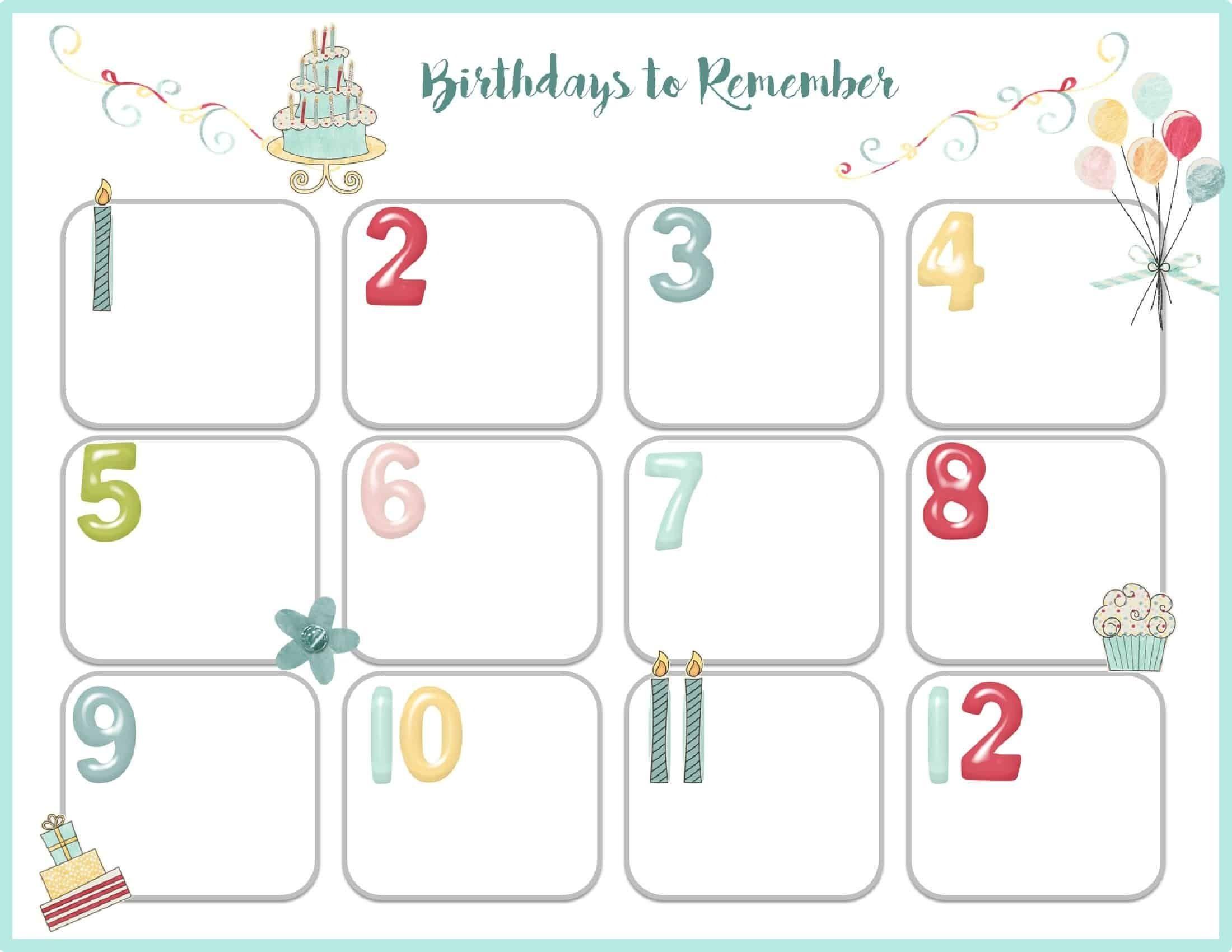 Birthday Calendar Template Printable Events