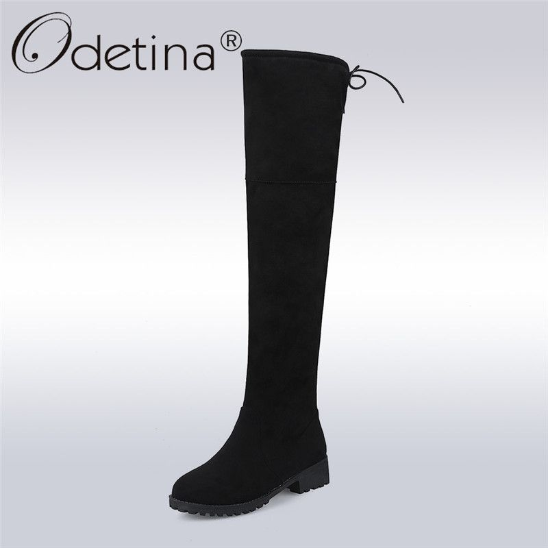 8b62628a8b9 Odetina Sexy Over The Knee High Faux Suede Women Boots Chunky Low Heel Lace  Up Thigh High Boots Winter Warm Shoes Plus Size 43