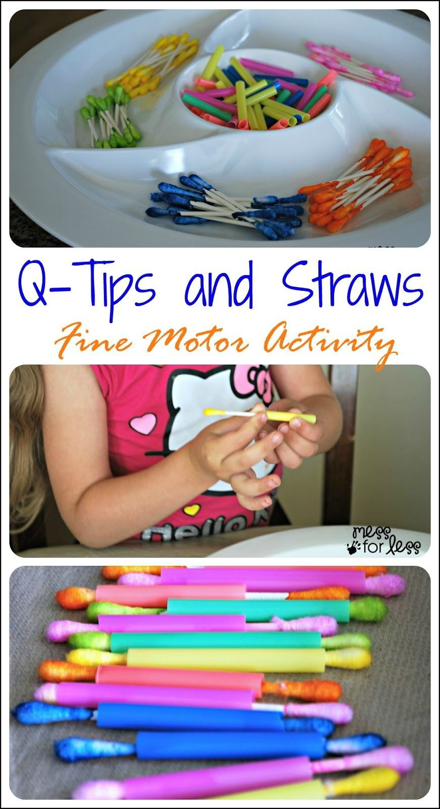 Feinmotorische wattestäbchen färben zu bunten strohhalmen sortieren und durchziehen Q-Tips and Straws Fine Motor Skills Activity - A great way to help little hands strengthen fine motor skills and work on colors at the same time.