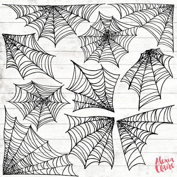 Halloween Spider Web Clipart Hand Drawn Halloween Clip Art