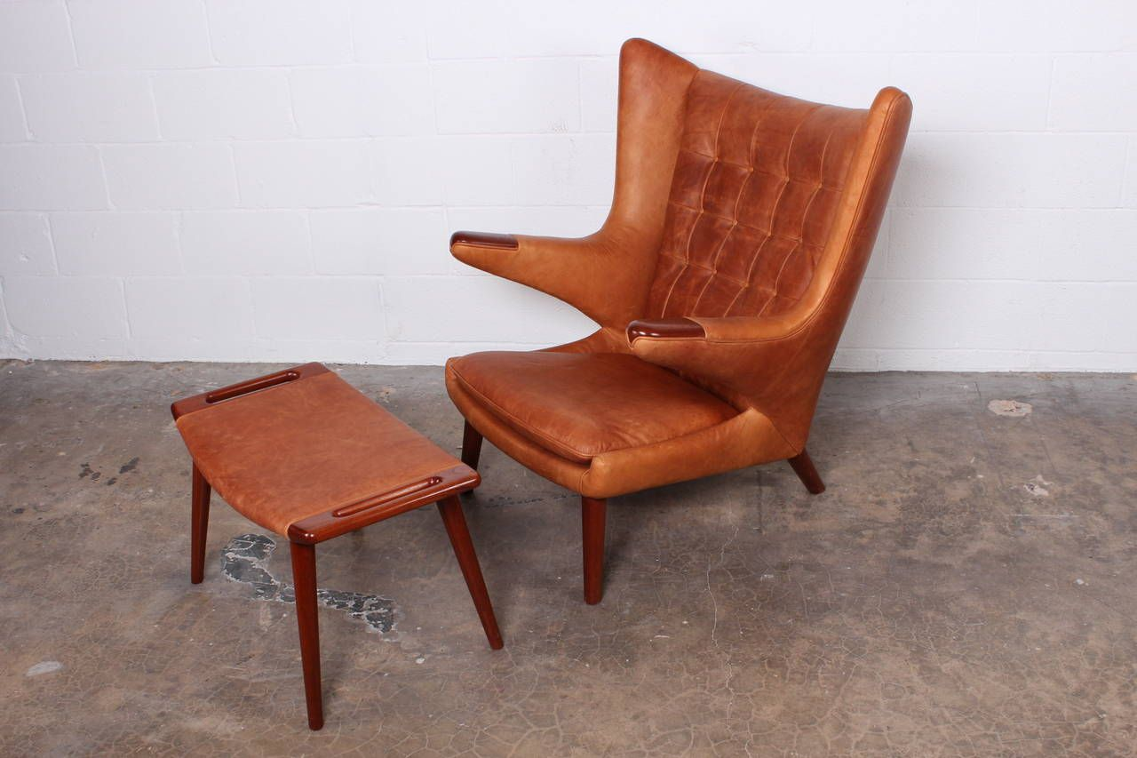 Leather Papa Bear Chair And Ottoman By Hans Wegner Image 3 Papa