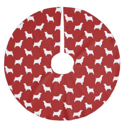 English Springer Spaniel Silhouettes Pattern Red Brushed Polyester