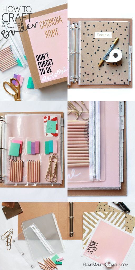 How To Craft A Cute Binder - Home Made By Carmona