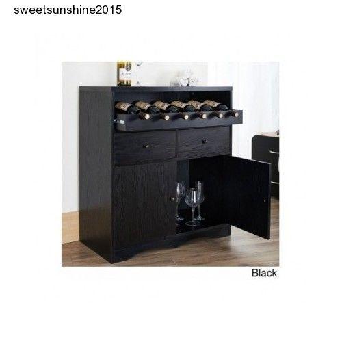 Black Buffet Unit Wine Rack Bar Pub Liquor Storage Cabinet