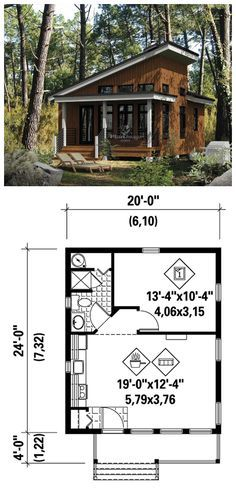 Contemporary Style House Plan 52781 With 1 Bed 1 Bath House Blueprints Tiny House Plans Small House Plans