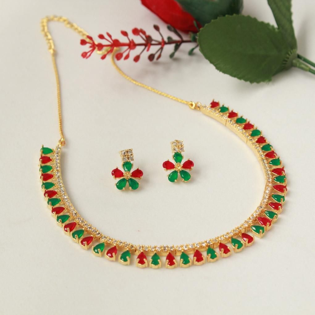 Red and Green American Diamond Stone Necklace Necklaces
