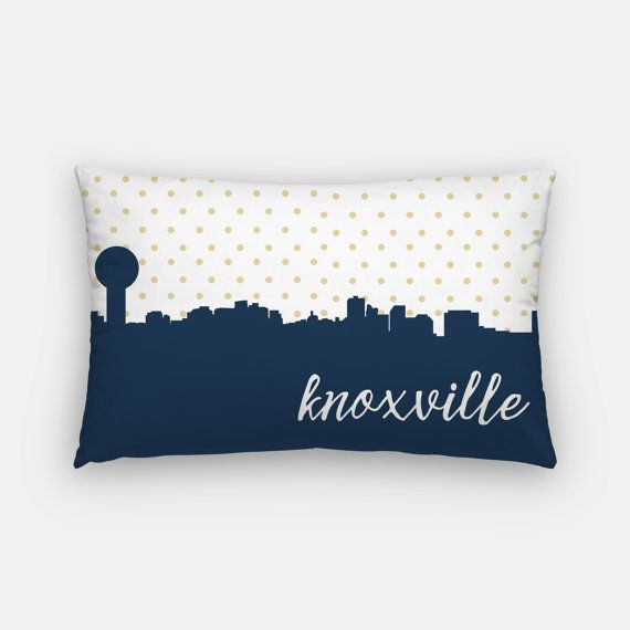 Knoxville Skyline Pillow Featuring A Gold Polka Dot Design And The Knoxville Skyline In Your Choice Of Colors Gold A Teal Pillows Polka Dot Design Polka Dots
