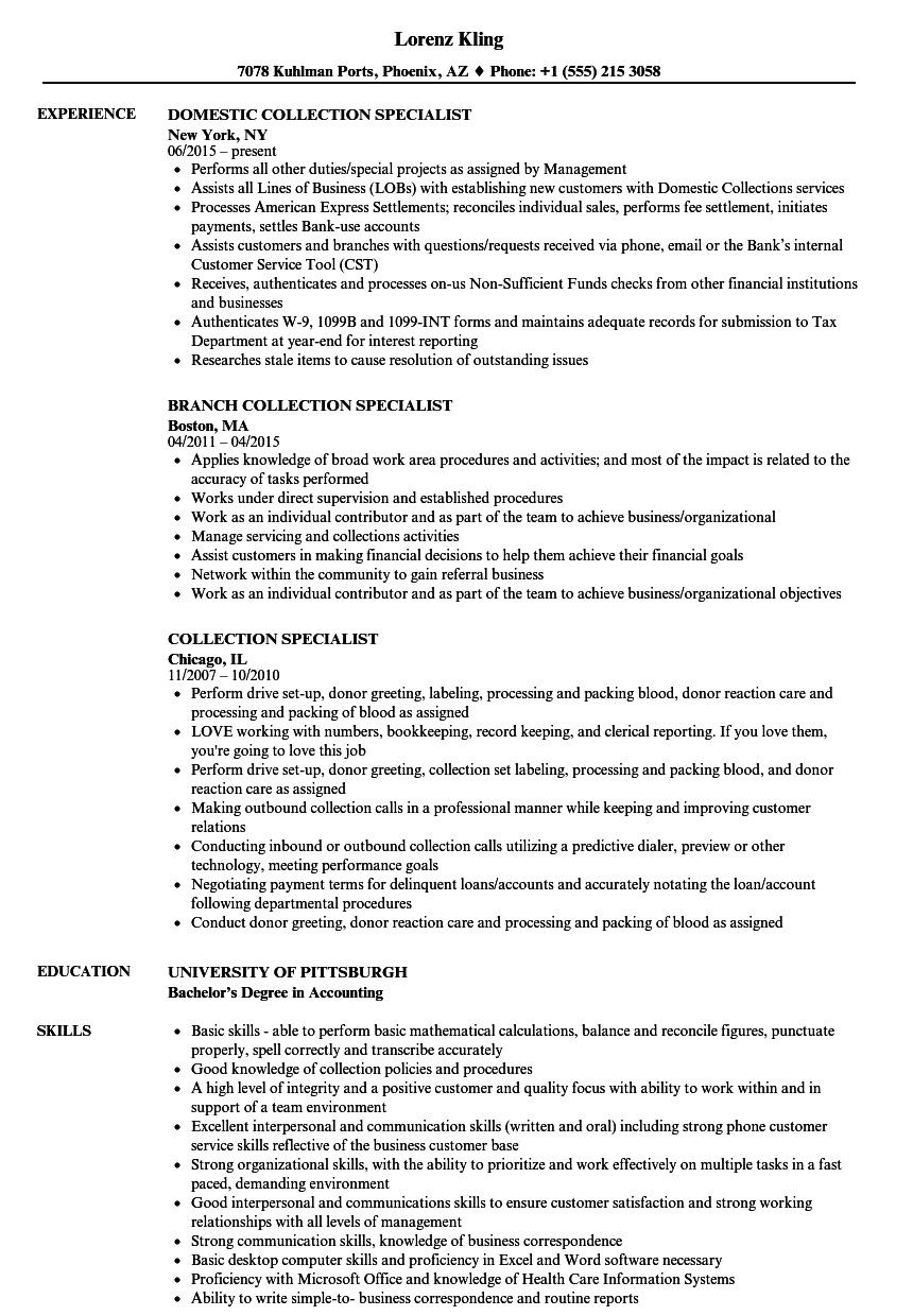 Debt Collector Job Description For Resume Lovely Collection Specialist Resume Samples Business Analyst Resume Resume Examples Project Manager Resume