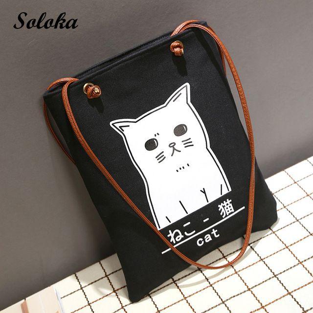 Girl Gift Leisure Canvas Shopper Shoulder Bag Cartoon Cat Beach Bags Big  Capacity Tote Women Ladies 7ba8ec6ab95cc