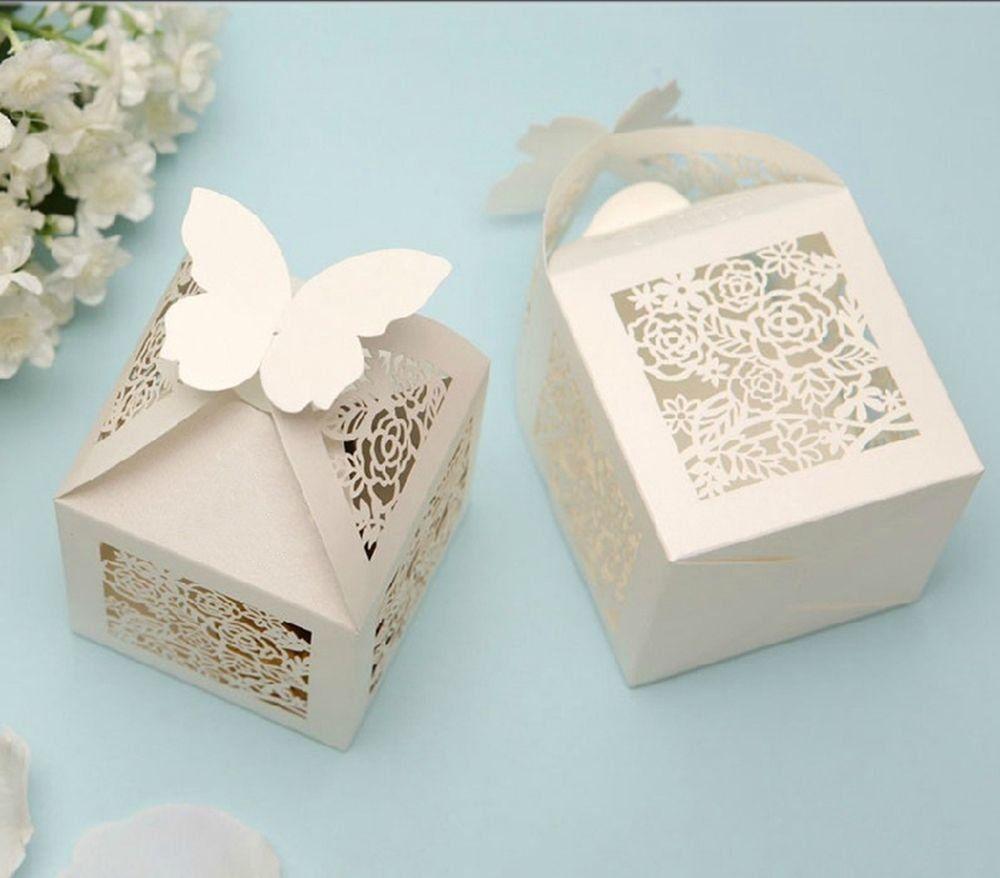 Amazon Partecipazioni Matrimonio.10pz Farfalle Bomboniere Bianca Perlata Matrimonio Porta Confetti