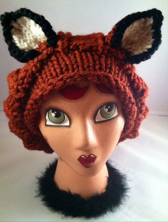 Ginger Fox Hat Slouch Beanie Animal Hat Hand Knit by ThatGirlKnitz, $30.00