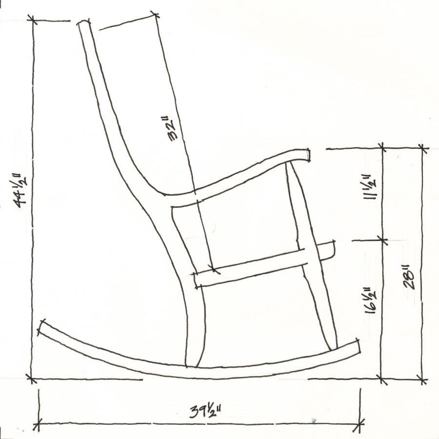 Dimensions Of Rocking Chairs Made By Gary Weeks And Company Rocking Chair Rocking Chair Plans Wood Chair Design