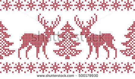 Embroidered Christmas and New Year pattern deer