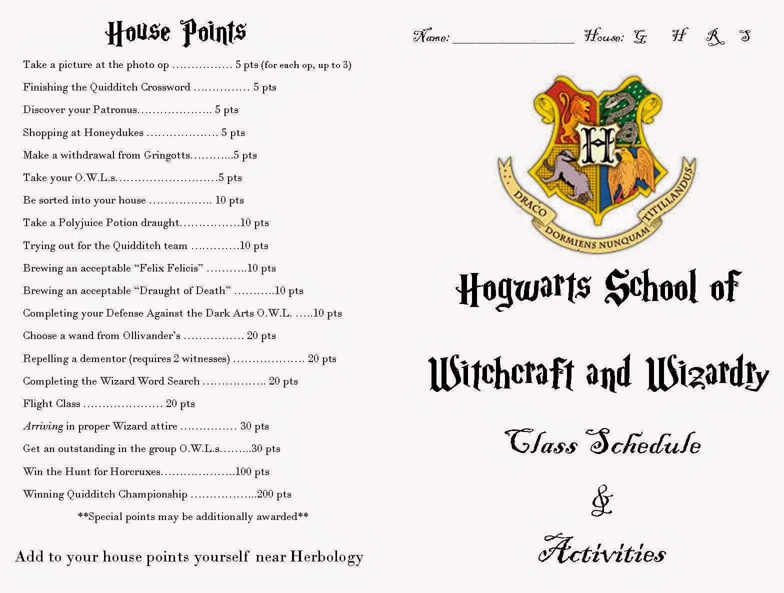Harry Potter Party Class Schedule And Activities In