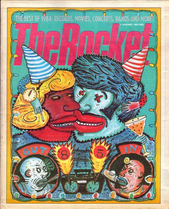 The Rocket, January 1985.   Illustration: Lynda J. Barry, art director: Robert Newman