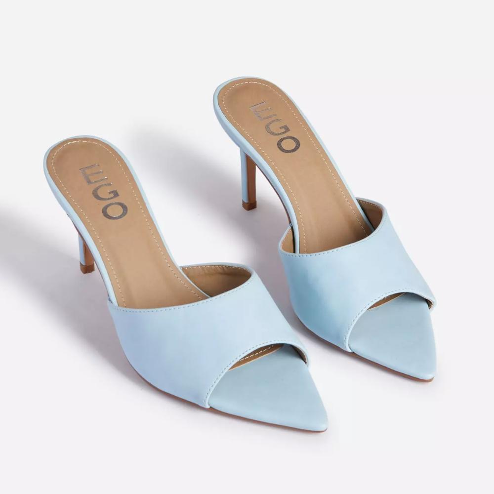 Maelle Pointed Peep Toe Kitten Heel Mule In Light Blue Faux Leather Available In Sizes Uk 3 8 In 2020 Heeled Mules Heels Kitten Heels