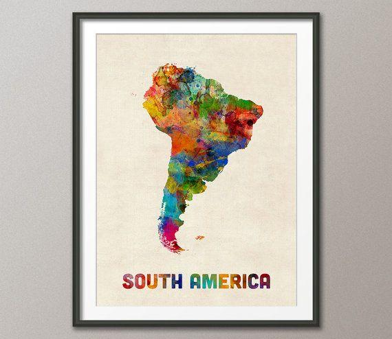 South America Watercolor Map Art Print 2307 Watercolor map