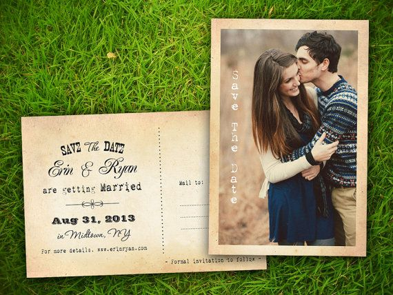 "Photo Save The Date Wedding PostCard - Vintage Rustic French Turckheim Customizable 4"" x 6""  - 50 Pieces PRINTED Double Sided Postcard on Etsy, $60.00"