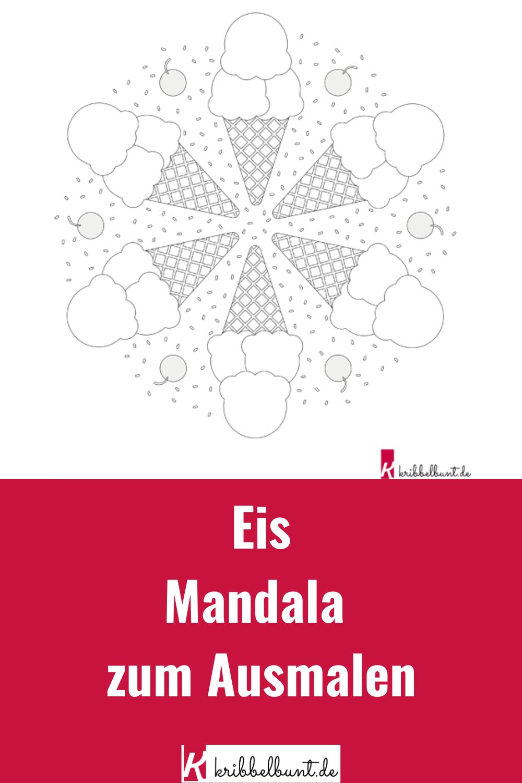 ausmalbild eis mandala für kinder kunstunterricht