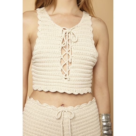 Natural Lace Up Halter Crochet Crop Top Lace up crochet cropped tank ...