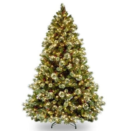 8 Pre Lit Full Wintry Pine Artificial Christmas Tree With Cones Berries And Snow Clear Pine Christmas Tree Green Christmas Tree Christmas Tree Clear Lights