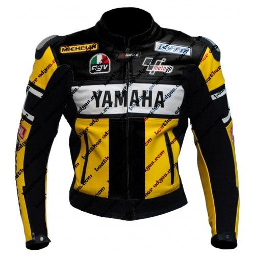 Yamaha motorbike valentino rossi yellow black 46 leather for Yamaha r1 motorcycle jackets