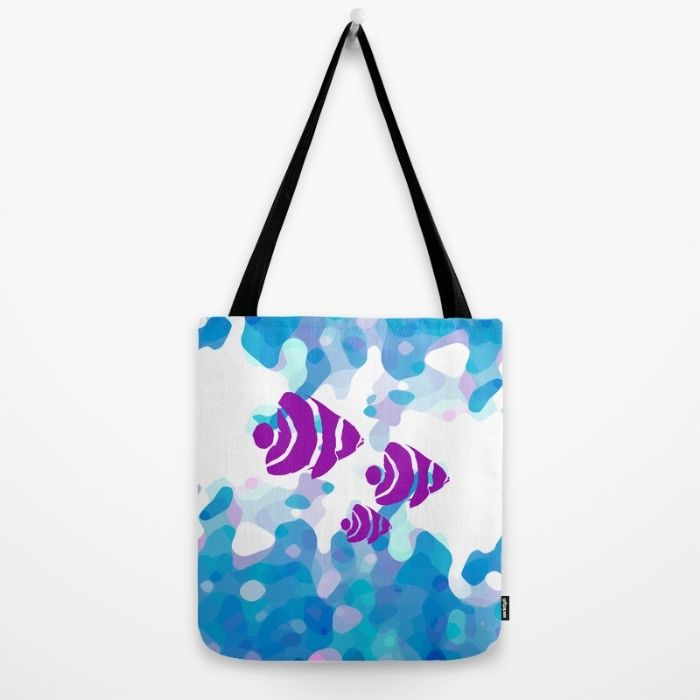 Three Purple Fishes Tote Bag by Mirimo | Society6