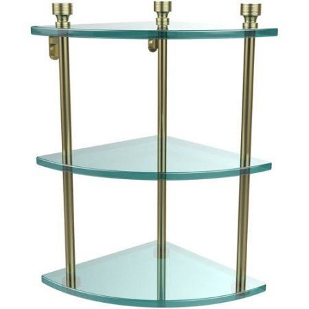 Foxtrot Collection 3-Tier Corner Glass Shelf (Build to Order), Clear