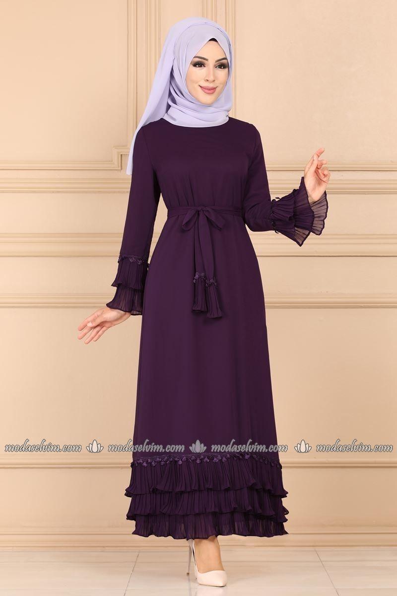 Firfir Detayli Sifon Tesettur Elbise 3078ab368 Mor Moda Selvim Elbise Uzun Elbise Elbiseler