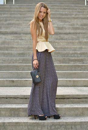 d3e359b2c0 Maxi skirt with peplum top- fun way to wear a peplum   how to wear ...