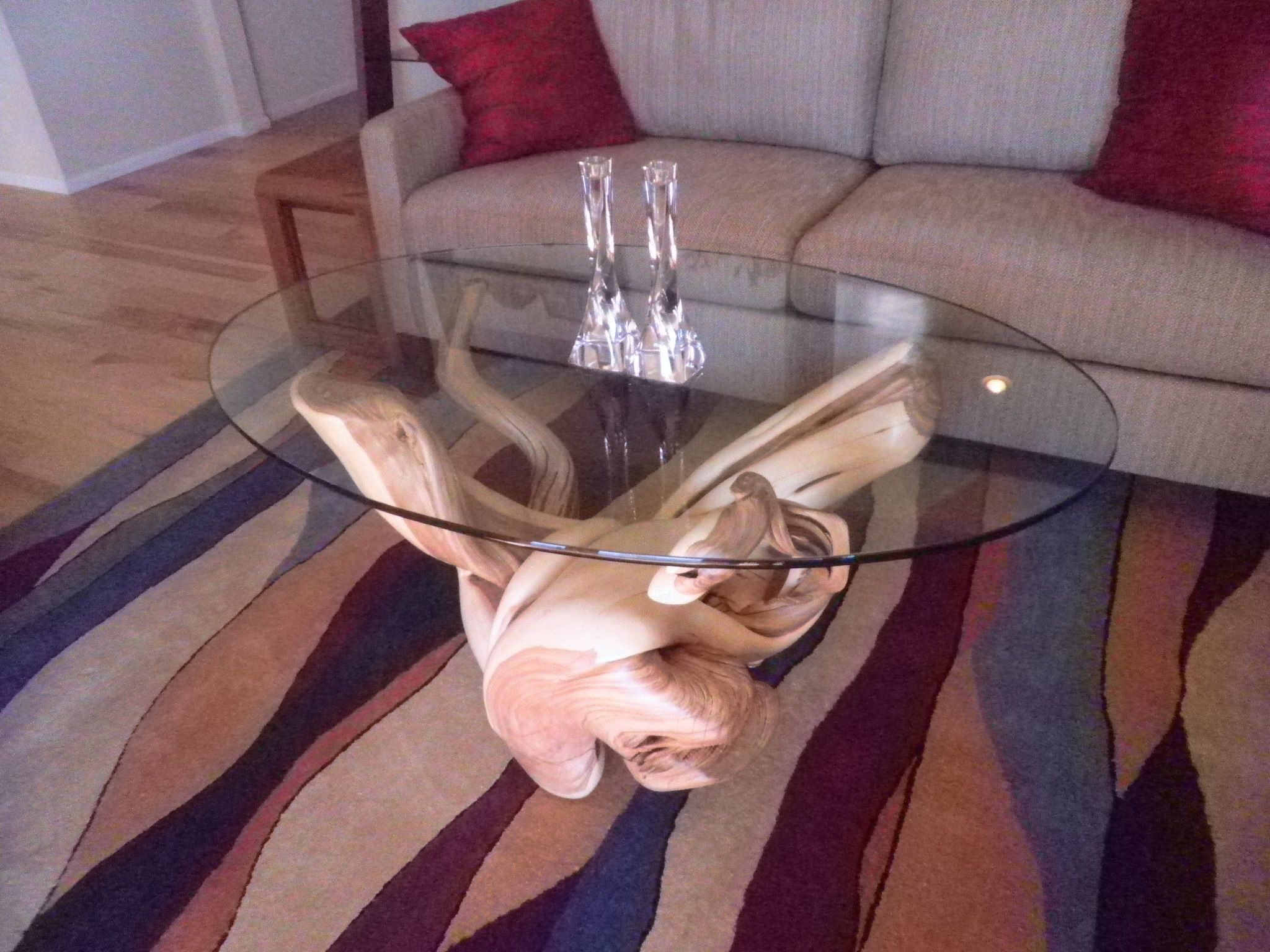 Juniper wood furniture coffee table with glass top great for a juniper wood furniture coffee table with glass top great for a log home geotapseo Images