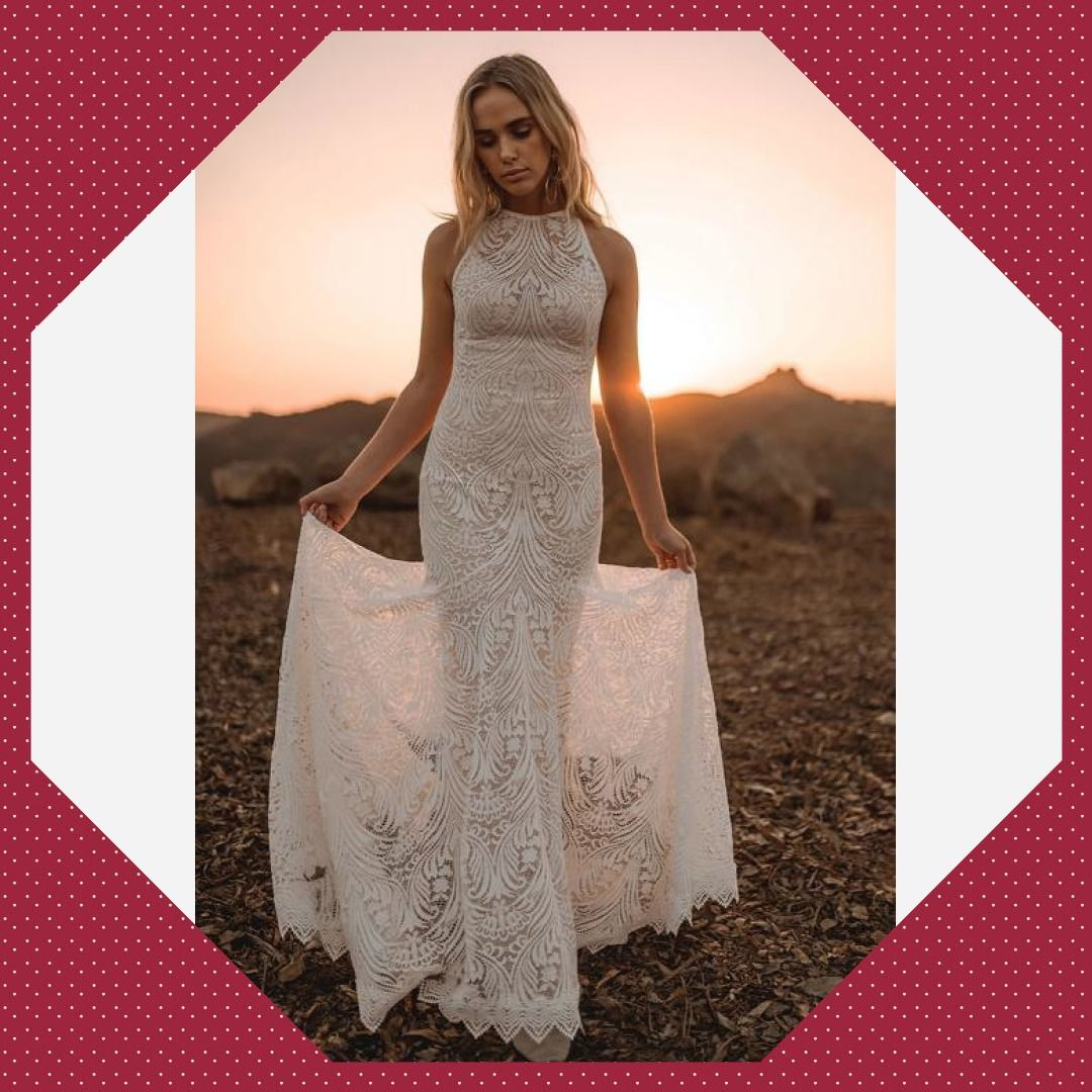White Sleeveless Lace Backless Wedding Day Gown