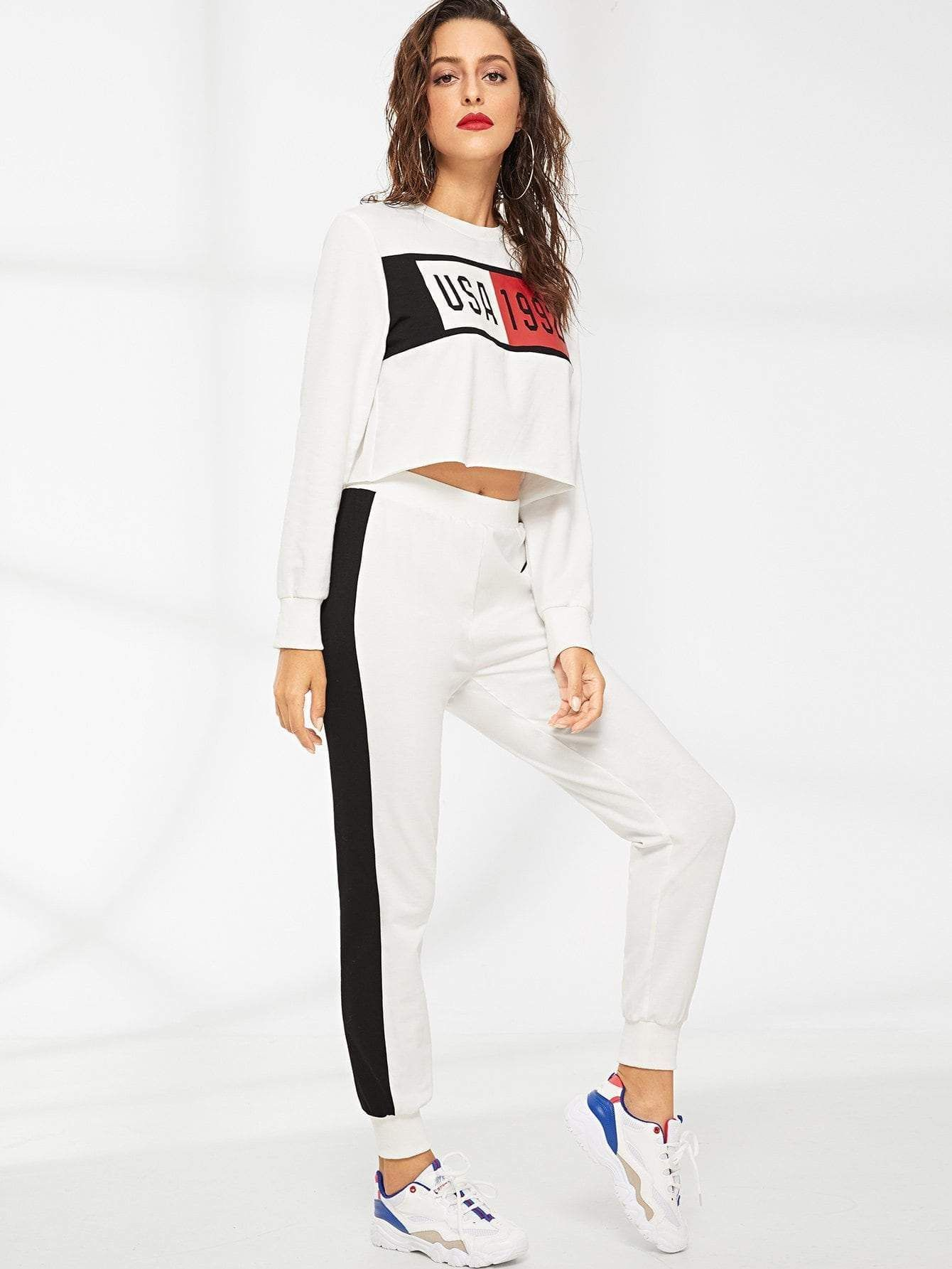 83389a81ddcf Mixed Print Crop Top & Sweatpants Set in 2019 | Gym Style ...