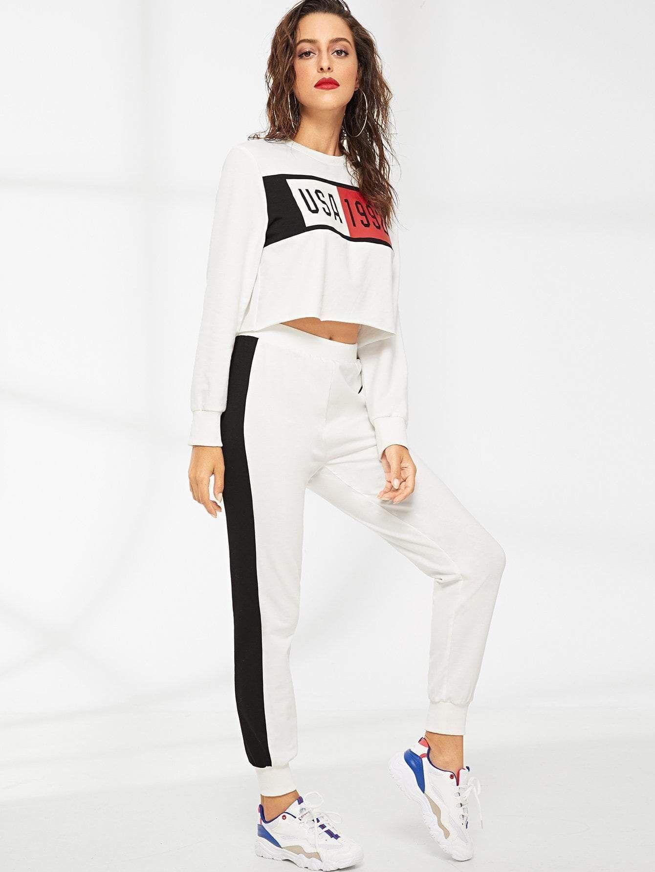 b411082ea0 Mixed Print Crop Top   Sweatpants Set - Sportsuit