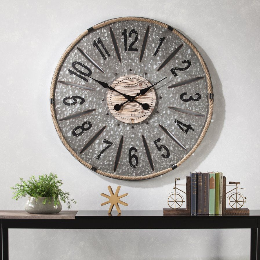 Oversized 36 Metal Wall Clock Wall Clock Oversized Wall Clock Galvanized Wall Clock