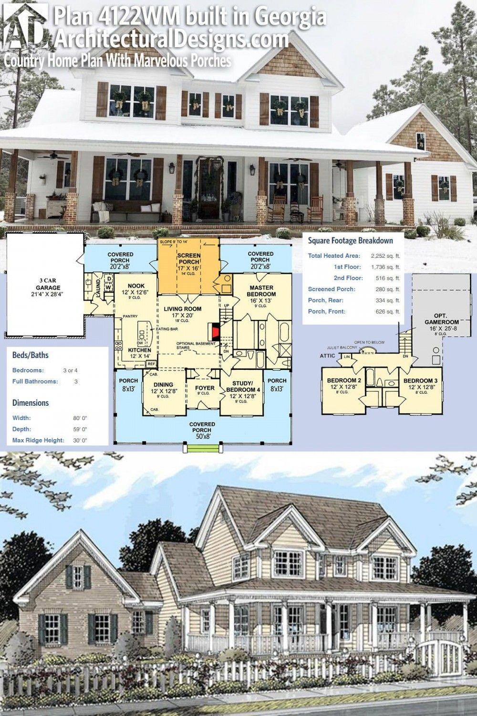 Plan 4122wm Plan De Maison De Campagne Avec De Magnifiques Porches Plan Maison Plan De Maison De Campagne Maison De Campagne