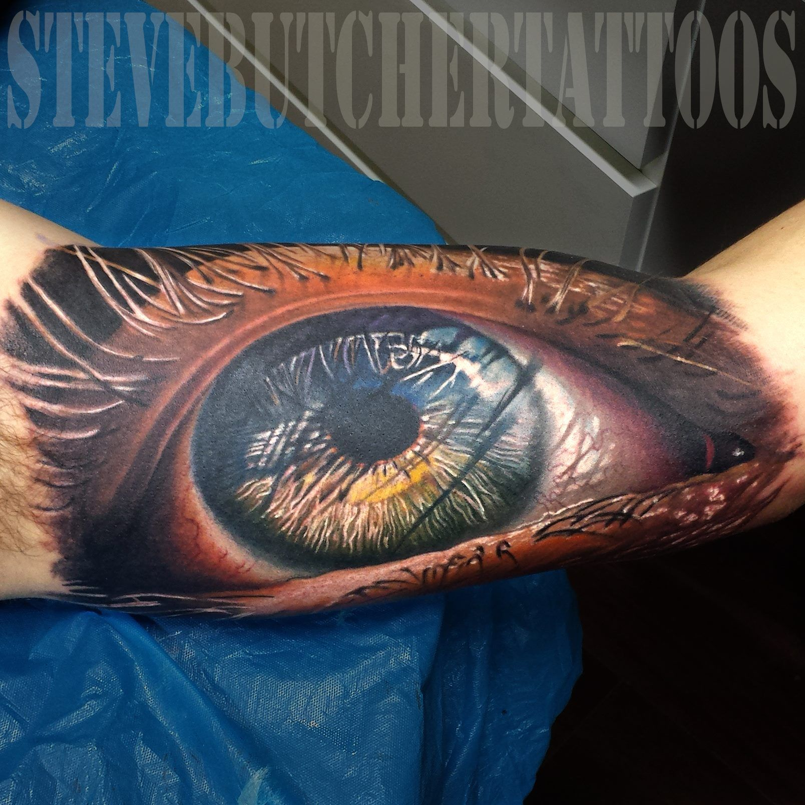 Incredible detail on this eye tattoo done by steve using