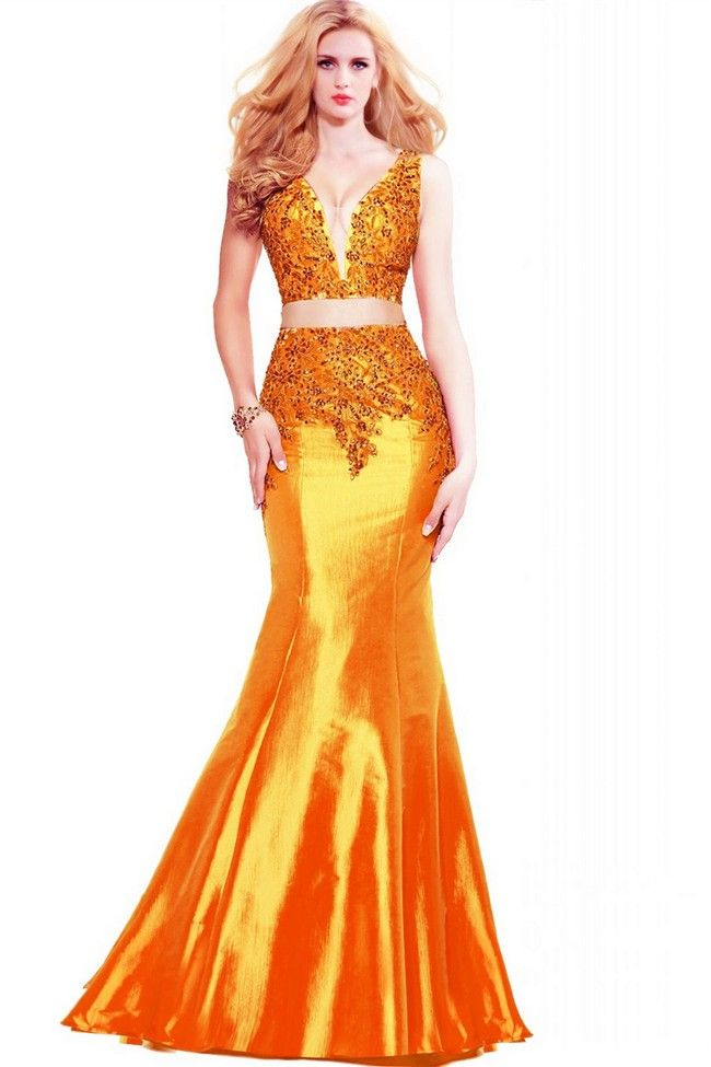 324163a8dca Mermaid Plunging Neckline Orange Taffeta Applique Beaded Two Piece Prom  Dress