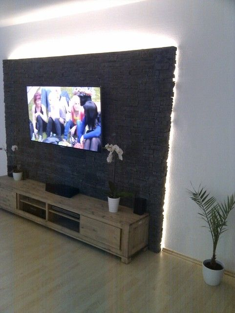 Steinwand mediawand eigenbau zimmer pinterest for Tv steinwand