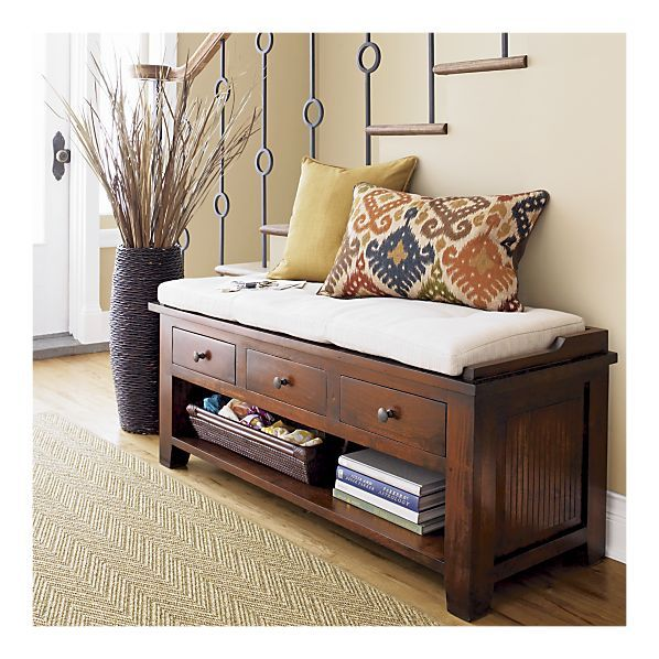 cratebarrel white small entryway benches with storage   Kavari Bench in Entryway Benches   Crate and Barrel   Home ...