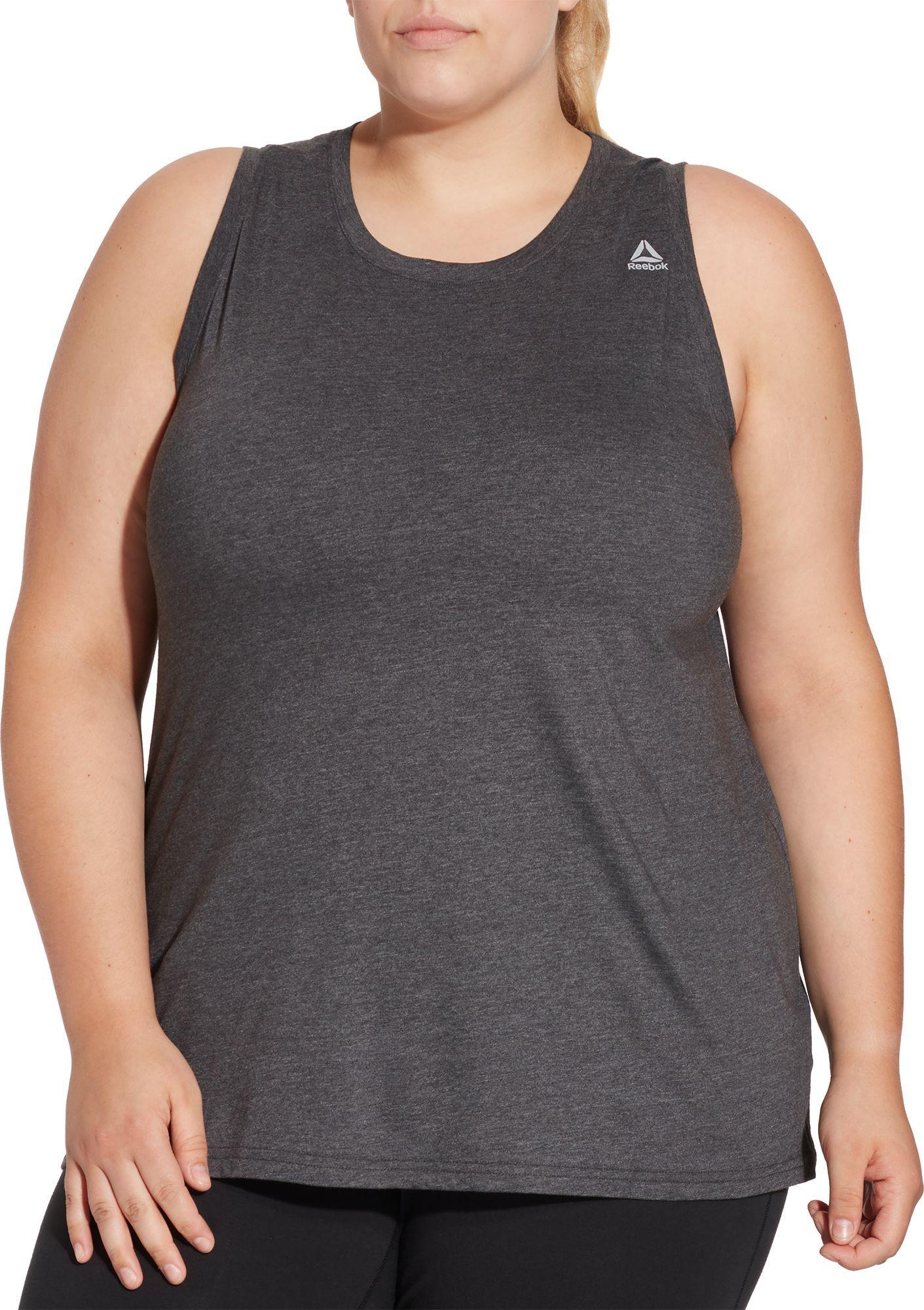 096b46ac Reebok Women's Plus Size Heather Jersey Tank Top, Dgh Single Dye