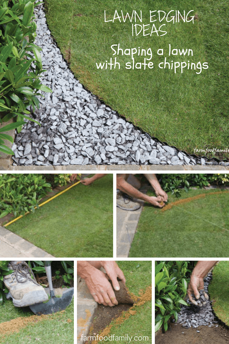 Garden Edging Ideas Shaping A Lawn With Slate Chippings is part of Slate garden Edging - Superimposing a sharply outlined shape onto an illdefined lawn area transforms the look of the whole plot  Geometric forms give a sharp, contemporary look but a simple circle fits any style  Don't worry if the space you have won't accommodate a whole circle  A simple arc with rectangular shapes